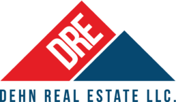Dehn Real Estate logo in Red, White and Blue